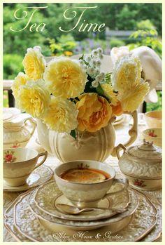 Yellow roses garden afternoon tea time!  Aiken House & Gardens blog