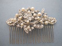 Vintage Style Bridal Hair Comb,Crystal Rhinestone and Pearl Wedding Hair Comb,Wedding Hair Accessories,Ivory,white Pearl Comb,headpiece,clip on Etsy, $52.00