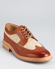 Mens    Frye James Canvas Wingtip Dress Shoes