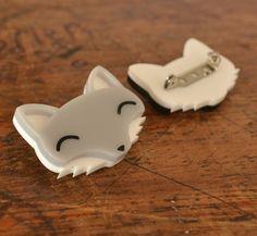 Brooch - Wolf brooch - Grey Fox Brooch - Cute Animal Brooch Jewellery Jewlery - Acrylic Brooch Laser Cut Woodland Animal Animals