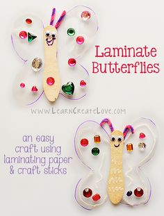 Laminate Butterfly Craft from LearnCreateLove.com