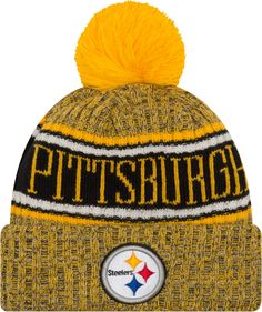 0c5f425d3c3 New Era Men s Pittsburgh Sideline Cold Weather Reverse Yellow Sport Knit  Pittsburgh Steelers Hats