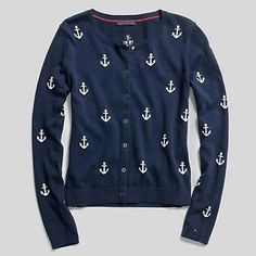 Prep club / karen cox. .Preppy blue and white Anchor cardigan