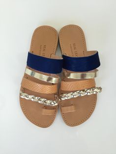 Hebe leather Greek sandals | Suede & leather | Royal blue, metallic & tan | Hebe sandals from www.kardia.ae. Handmade with love in Greece.