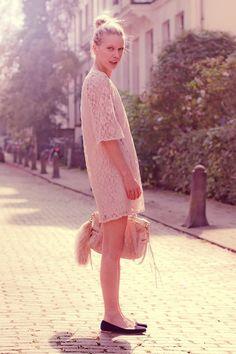 Zara Velvet Loafers, Rebecca Minkoff Woven Flame, Vero Moda One Shoulder Lace Dress