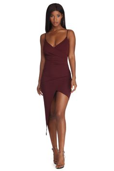 753d5452597e9 How Ruche Midi Dress Burgundy Dress