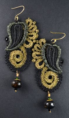 Black and Gold Lace with Onyx and Emerald Drop by CitaKayto
