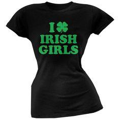 St. Patricks Day - I Shamrock Love Irish Girls Black Juniors Soft T-Shirt