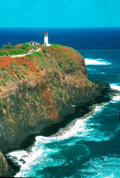 Kilauea Lighthouse, Kauai, Hawaii. I have been here and it is even more beautiful than the picture.