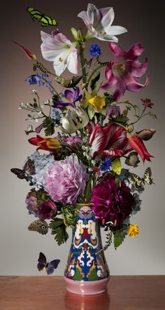Bas Meeuws  Untitled (#87), 2013 is still life image that is indicative of his style of his highly polished and edited images of flowers with added insects and birds.