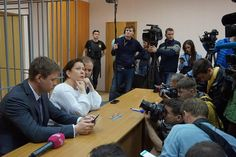 Natalia Sharina and her lawyers at Meshansky court, Moscow June 5, 2017.