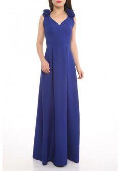 A-Linie Abendkleid mit Rosen Blau