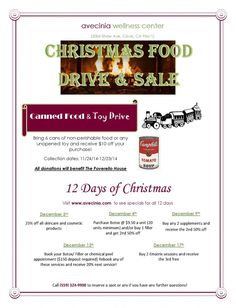 When you are out buying groceries (or toys) for Thanksgiving dinner or throughout this holiday season, pick up a few extra to donate to the Poverello House through avecinia! Donate 6 canned goods or a toy and get $10 off one of avecinia wellness center's 12 Days of Christmas Sale specials. Every time you purchase more than $100, you can also get a present for yourself from our Christmas tree! Call 559-324-9900 for more info!