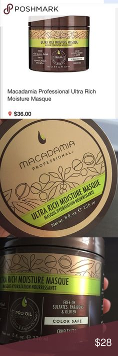 Macadamia nut ultra rich hair masque 8 oz Never used new. Full size 8oz. Great moisturizing and repairing hair mask. Will last long. No trade. macadamian nut Makeup