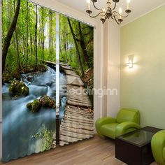 Scenery Curtains the beautiful scenery of forest printed 3d curtain on sale, buy
