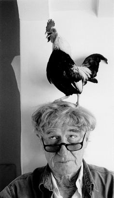 photo by Rondal Partridge, son of photographer Imogen Cunningham Black N White Images, Black And White Portraits, Black And White Photography, Imogen Cunningham, Simple Subject, Chicken Pictures, Bird People, Chickens And Roosters, Ansel Adams