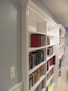 I would love to have these in my hallway.#storage #book shelves