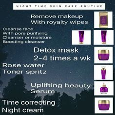 Take care of your skin a night too.  This is when our body replenishes itself.  Help you face stay young looking with these amazing skin care products from Younique Royalty Skin Care line.