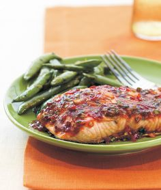 Spice up salmon with a tantalizing chili glaze, with this 20-minute low-carb dinner from Cooking Light magazine.  #gluten-free