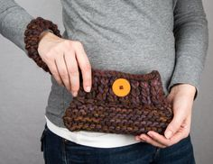 Handmade Small Brown and Dark Orange Clutch by NadiasKnits on Etsy, $20.00