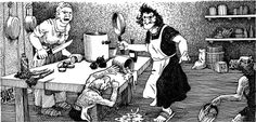 The hill giants have enslaved a large number of orcs to work in their kitchen, workrooms, and dungeons. (Dave Trampier from AD&D module G1: Steading of the Hill Giant Chief by Gary Gygax, TSR, 1978.)