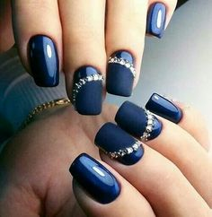 Midnight blue nails                                                                                                                                                      More