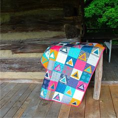 https://flic.kr/p/xGktye | Because I love this quilt, I'm posting it twice today! Fabric is Imprint by @katarinaroccella for @artgalleryfabrics Triangle pattern by @rachelwoodenspoon