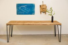 Dining Table - 5' - Reclaimed Wood and Solid Steel - Salvaged Pine.