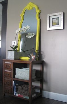 love the pop of yellow Yellow Mirrors, French Mirror, Interior Design Services, Service Design, Powder Room, Inspiration, Homes, Decorating, Furniture
