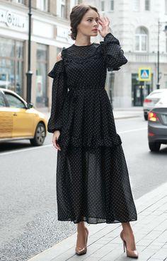 Платье в горох с ярусными оборками макси-длины Heevine / 2000001032701-0