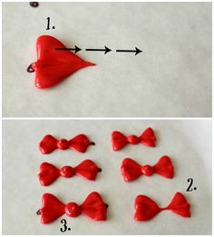 Great idea - Make ahead bows so no sinking into the base icing. leaf-tip bows_Sweetsugarbelle Cake Decorating Techniques, Cake Decorating Tutorials, Cookie Decorating, Royal Icing Templates, Royal Icing Transfers, Cookie Icing, Royal Icing Cookies, Cookie Tutorials, Cookie Tips
