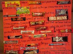 I made this candy bar poster for John last night. It took some time to come up… Mom Birthday Crafts, 80th Birthday Gifts, Birthday Gift Baskets, Birthday Quotes, Valentines Day For Him, Valentine Day Gifts, Candy Bar Cards, Valintines Day, Candy Bar Posters