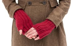 Lush Fingerless Mitts. I'd also like directions for obtaining that herringbone coat in the background.