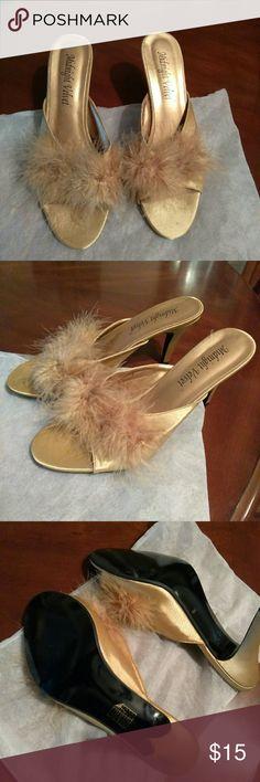 Gold furry feather slipper heels Never worn gold feathers slipper size 9 women's Shoes Slippers