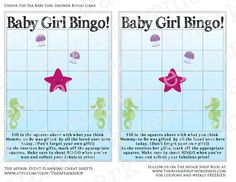 Under the Sea Baby Girl Shower Bingo GameTwo 5x7 by TheAffairShop, $5.00