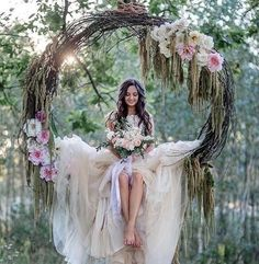 a grapevine wreath with pink flowers as a swing for the bride . - Hochzeit im Freien - Flowers Forest Wedding, Boho Wedding, Rustic Wedding, Wedding Ceremony, Wedding Flowers, Dream Wedding, Wedding Swing, Bride Flowers, Trendy Wedding