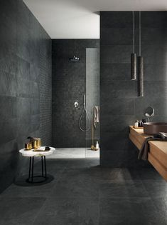 Luxury Bathroom Master Baths Wet Rooms is entirely important for your home. Whether you pick the Luxury Bathroom Ideas or Luxury Bathroom Master Baths Paint Colors, you will make the best Luxury Master Bathroom Ideas for your own life. Dark Bathrooms, Luxury Master Bathrooms, Modern Bathroom Tile, Natural Bathroom, Bathroom Tile Designs, Dream Bathrooms, Bathroom Interior Design, Bathroom Ideas, Master Baths
