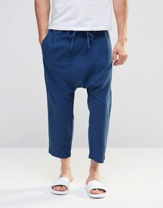 Image 1 of ASOS Drop Crotch Cropped Pants In Textured fabric