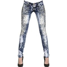 PHILIPP PLEIN Studded Stretch Cotton Denim Jeans ($1,739) ❤ liked on Polyvore featuring jeans, pants, bottoms, calças, dolls, philipp plein, studded jeans, philipp plein jeans and 5 pocket jeans
