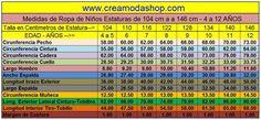 Tabla de Medidas Ninos 4 a 12 años Periodic Table, Diy And Crafts, Crochet, Couture, Sewing, Google, Facebook, Patterns, Chic