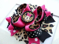 Minnie Mouse Leopard Inspired Boutique Layered Hair Bow -Minnie Mouse Hair Bow -Leopard Hair Bow on Etsy, $11.00