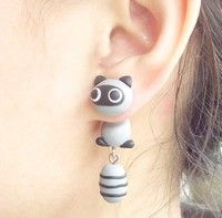 Lovely Civet Cat Two Parts Earring (Color Gray) $11