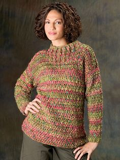 Painter's Palette Pullover by Darla Sims. Crochet jumper. Chunky/12ply 128m/100g x 5. 8.0mm hook. Crochet! magazine. Warm & Cozy Crochet. Fall 2012. Saved to Evernote/ iBooks