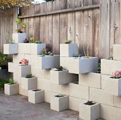 Creative DIY Vertical Gardens For Your Home --> Cinder Block Succulent Outdoor Wall Planter Vertical Garden Planters, Vertical Gardens, Fence Planters, Tall Planters, Modern Planters, Concrete Projects, Concrete Blocks, Diy Concrete, Masonry Blocks