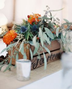 Wooden Box Centerpiece with the table number written out