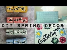 DIY SPRING DECOR - YouTube Cherry blossom clothespins, paper Whale tissue box, flower art.