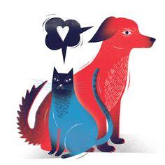 #dog #cat #together #love #illustration #red #blue #hearth by Agata DUDU Dudek