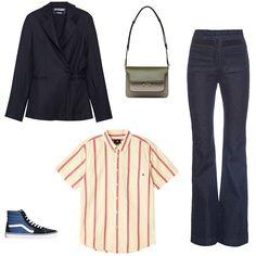 Jacquemus wool piqué blazer, $580, net-a-porter.com; Marni green leather shoulder bag, $1,255, stylebop.com; Rachel Comey high-rise flared denim jeans, $350, matchesfashion.com; Obey Waylon stripe short-sleeve button-down shirt, $64, urbanoutfitters.com; Vans Sk8-Hi classic sneaker, $60, urbanoutfitters.com