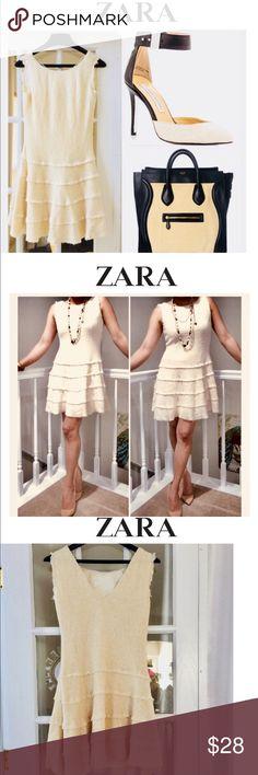 "(ZARA WOMAN) cream Crochet/Knit Skater Dress Med. (ZARA WOMAN) cream Crochet/Knit Skater Dress Med.   33"" Long from shoulder.  36"" around chest. 36"" Waist. Side hidden Zipper. Fringed edges. Pre owned - In excellent condition. Zara Dresses Midi"