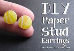 DIY Paper Stud Earring Tutorial {video}: Learn how to make these cute + colorful stud earrings and find tons more free jewelry making tutorials at http://jewelrytutorialhq.com #diystudearringstutorials